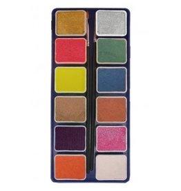 PXP PXP 12 x 6 gram metallic colours palet with 2 brushes  ( liner size 0 , flat size 1)