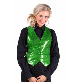 Thetru Paillettenvest dame, Groen