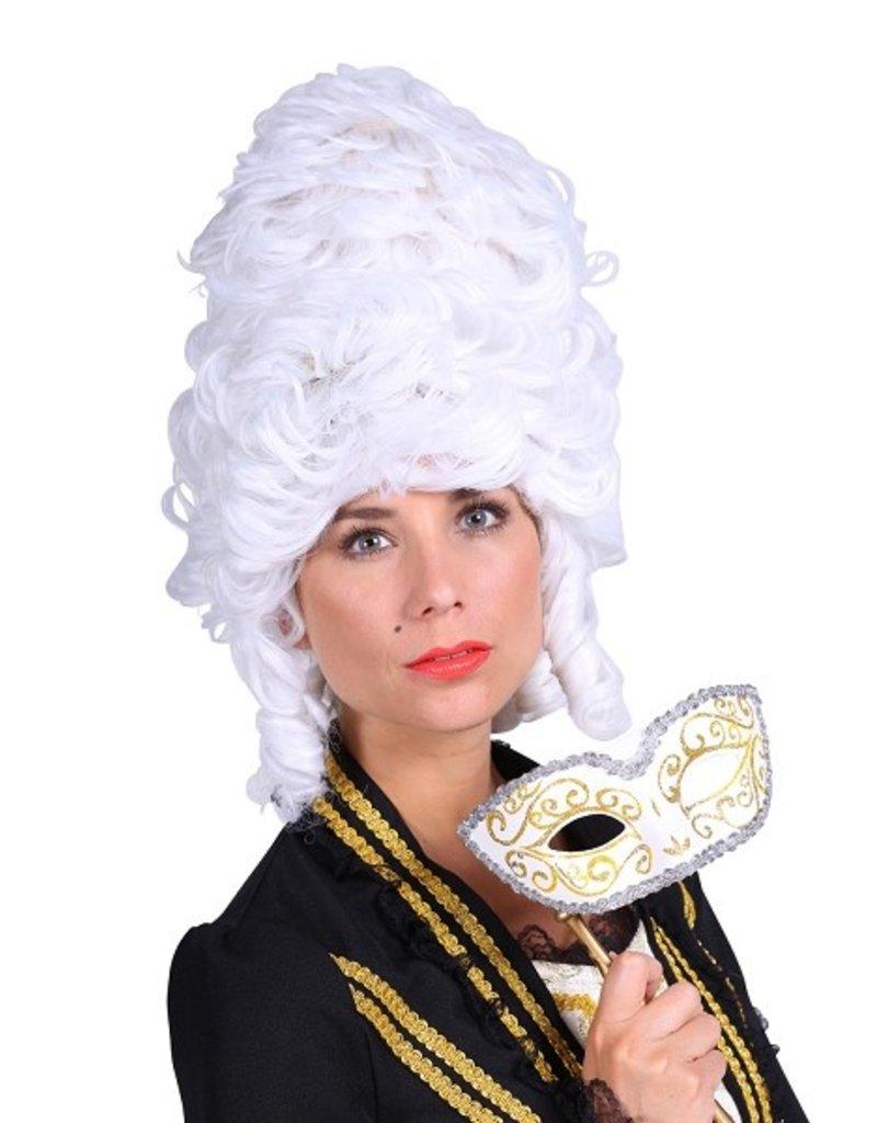 Thetru Pruik luxe Madame de Pompadour, Wit, Hoge kwaliteit pruik-Verstelbaar