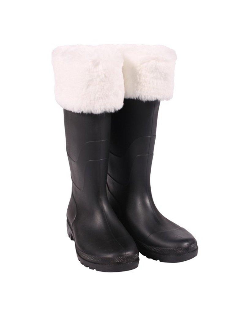 Thetru Kerstmanlaars luxe met bont, Zwart-Wit