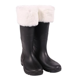 Thetru Kerstmanlaars luxe met bont, Zwart-Wit,