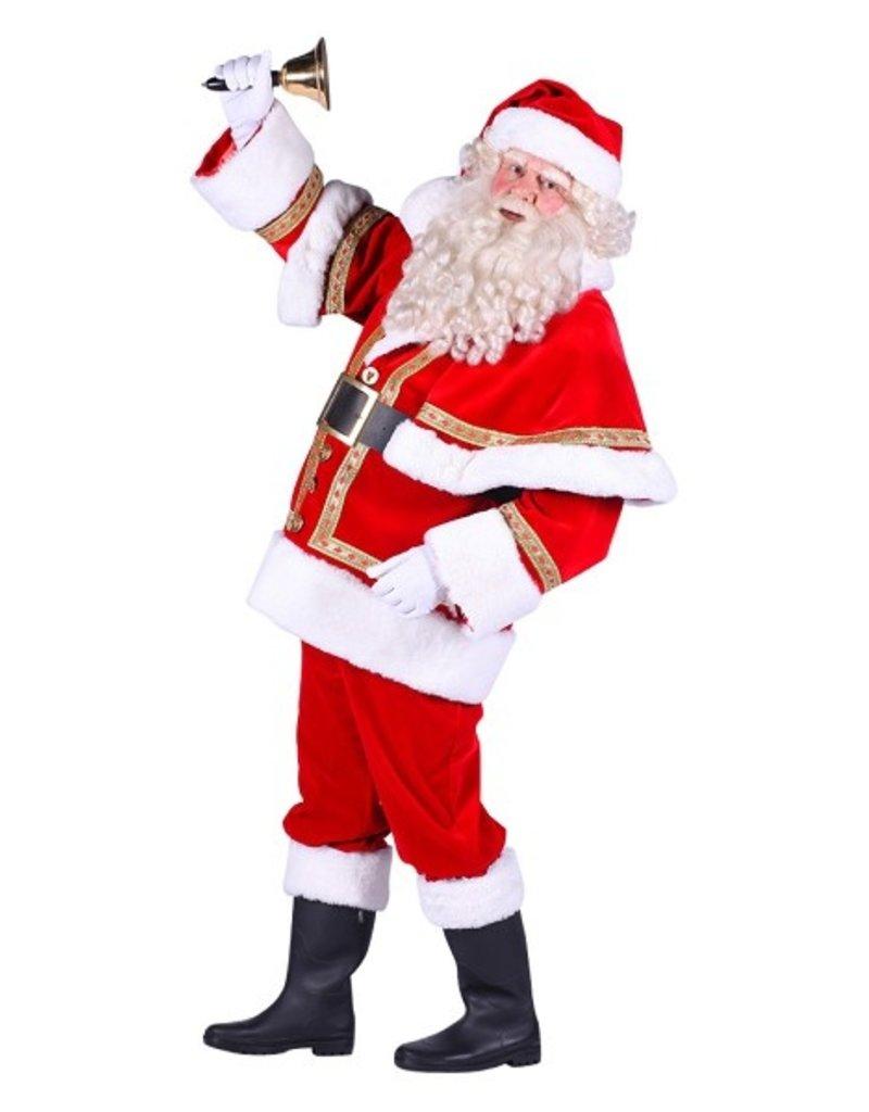Thetru Kerstman Polyester deluxe met cape, Rood-Wit, Jas-Broek-Muts
