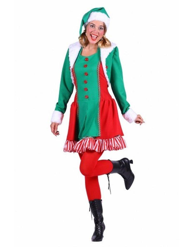 Thetru Elf dame ''Santa's helper'', Groen-Rood, Jurk-Jas-Muts