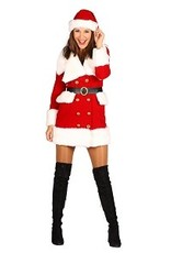 Thetru Kerstmeisje fluweel deluxe ''Nieve'', Rood-Wit, Jurk-Hoed-Riem