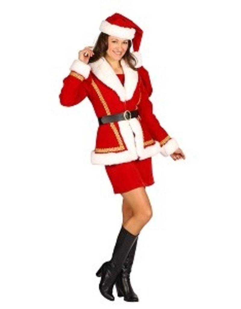 Thetru Kerstmeisje deluxe ''Nathalia'', Rood, Jurk-Jas-Riem