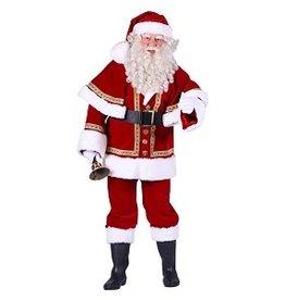 Thetru Kerstman fluweel deluxe met cape, Rood, Jas-Broek-Muts-Riem-Cape