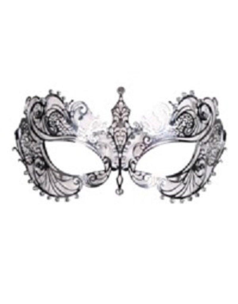 Thetru Oogmasker metalic luxe met strass, Zilver,