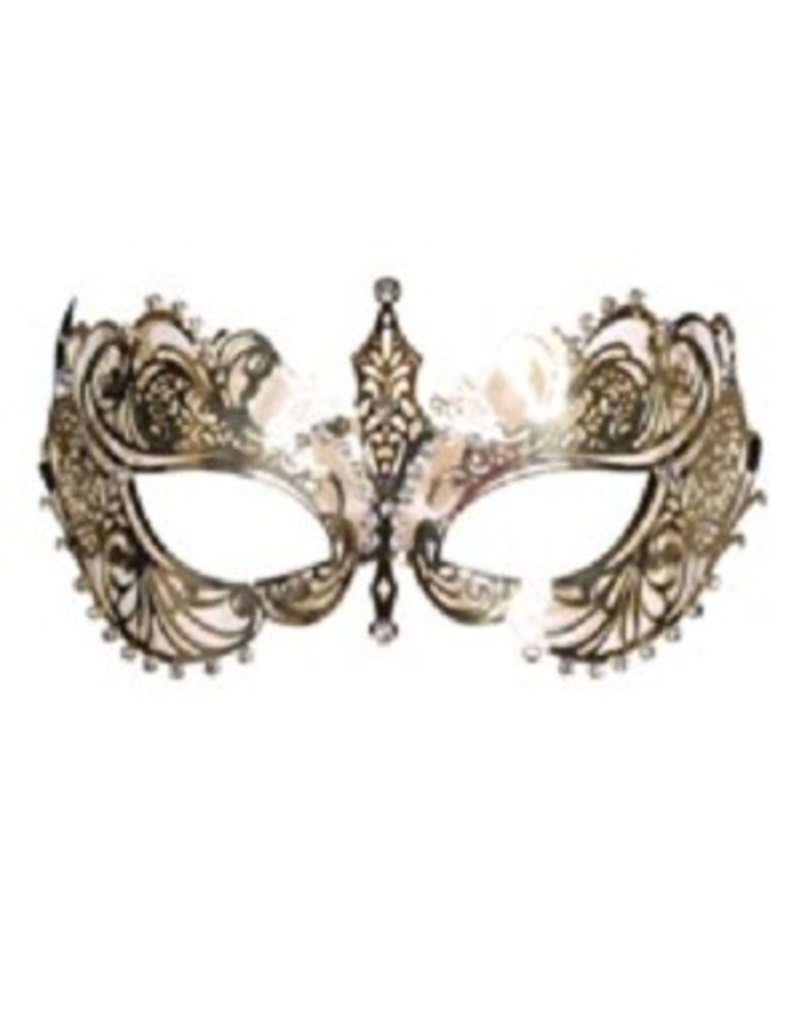 Thetru Oogmasker metalic luxe met strass, Goud,