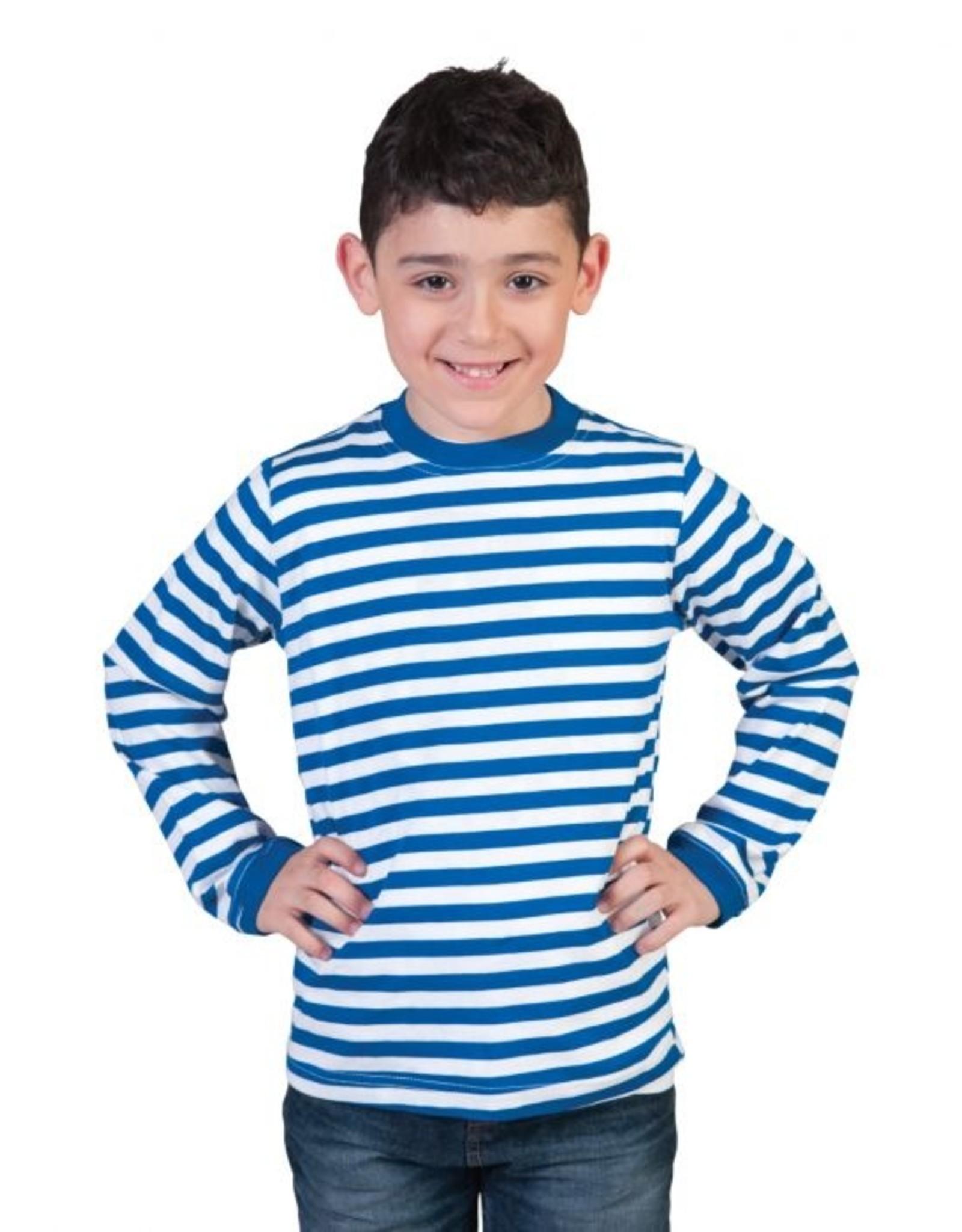 Funny Fashion Gestreepte trui blauw wit kind