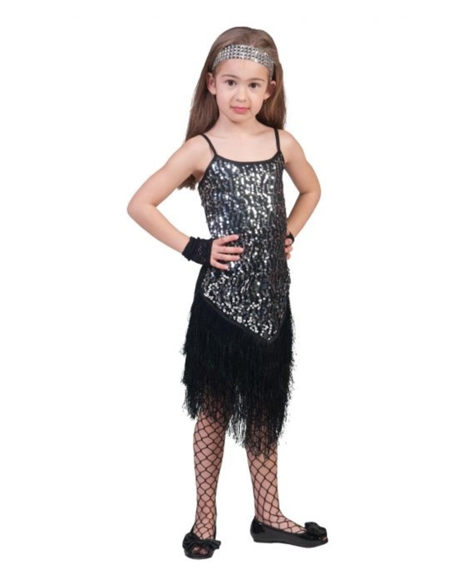 Funny Fashion Charleston jurk glamour glitter zilver kind