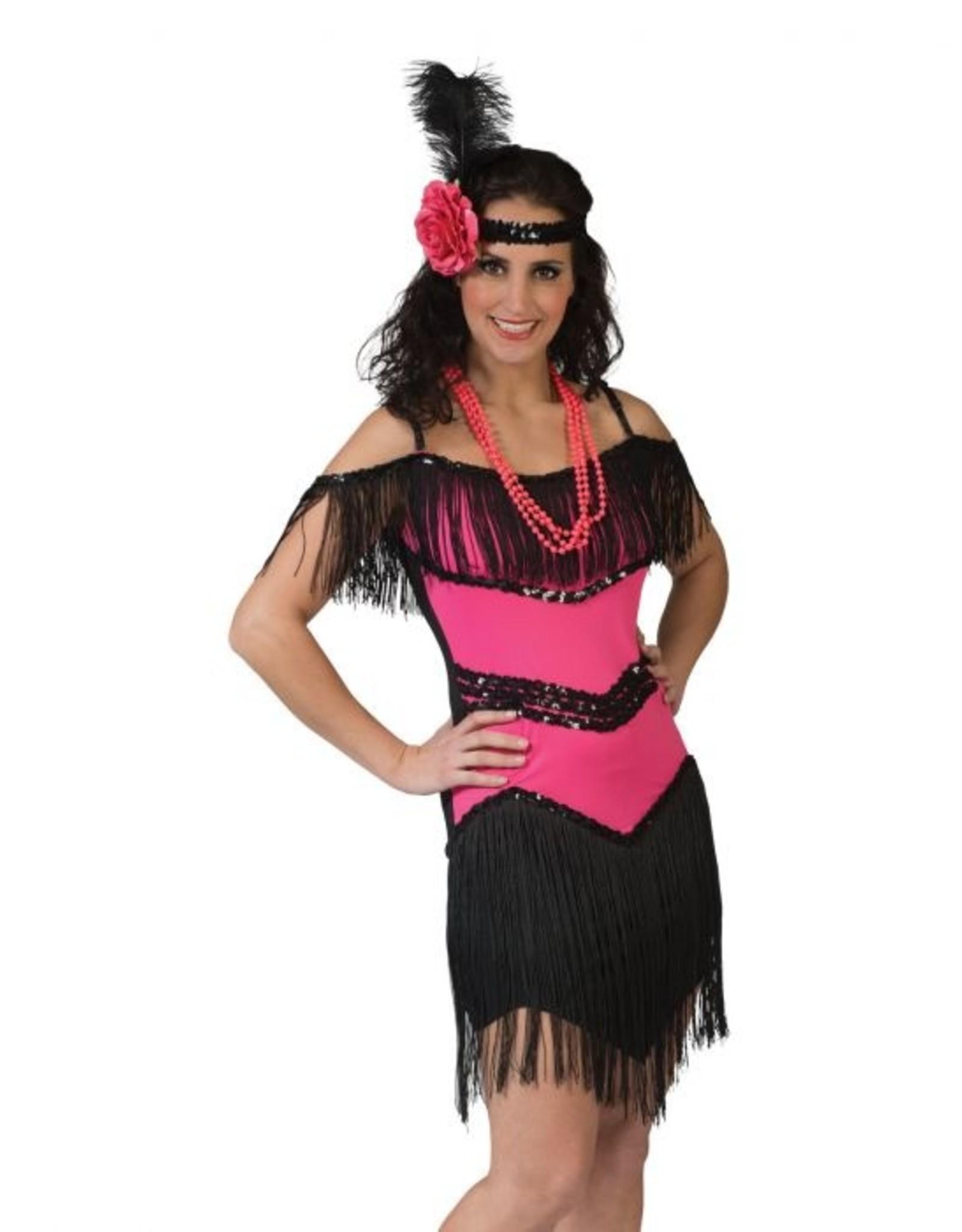 Funny Fashion Charleston jurk glamour fuchsia dames