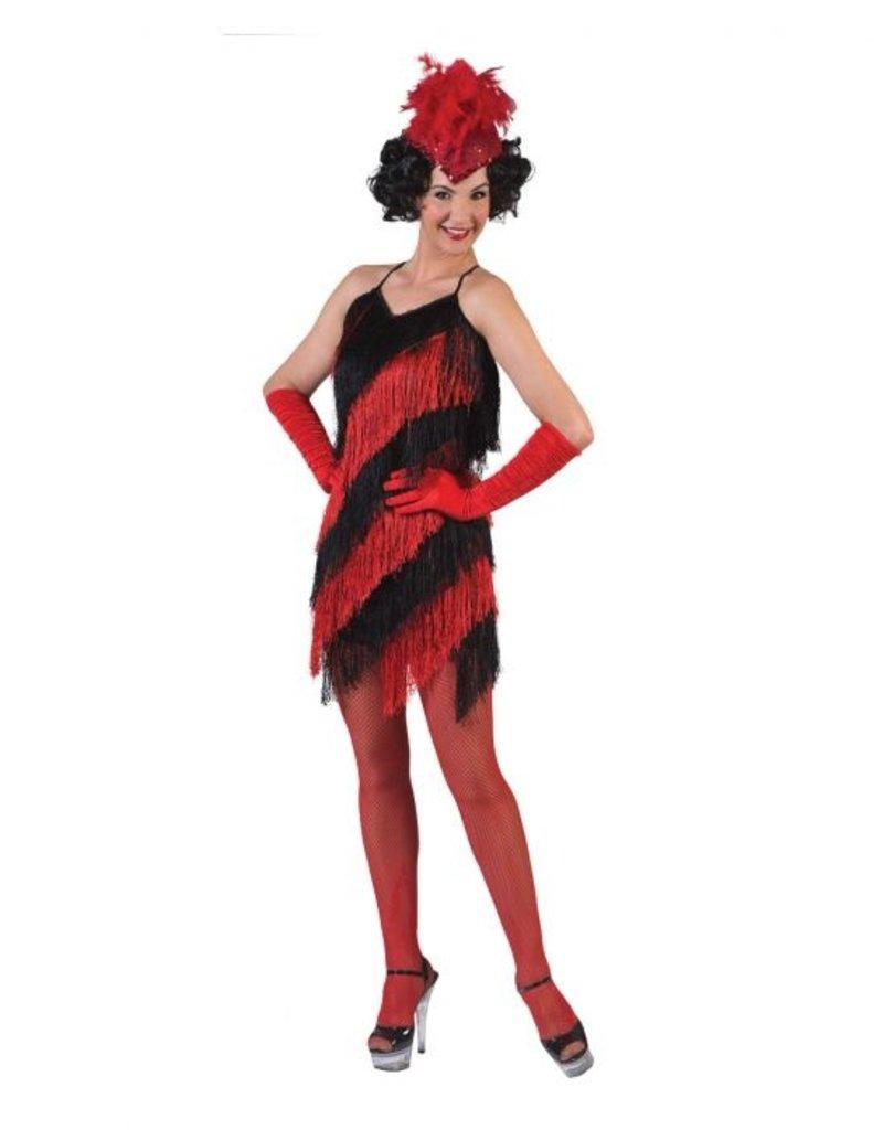 Funny Fashion Jurk Charleston zwart / rood dames