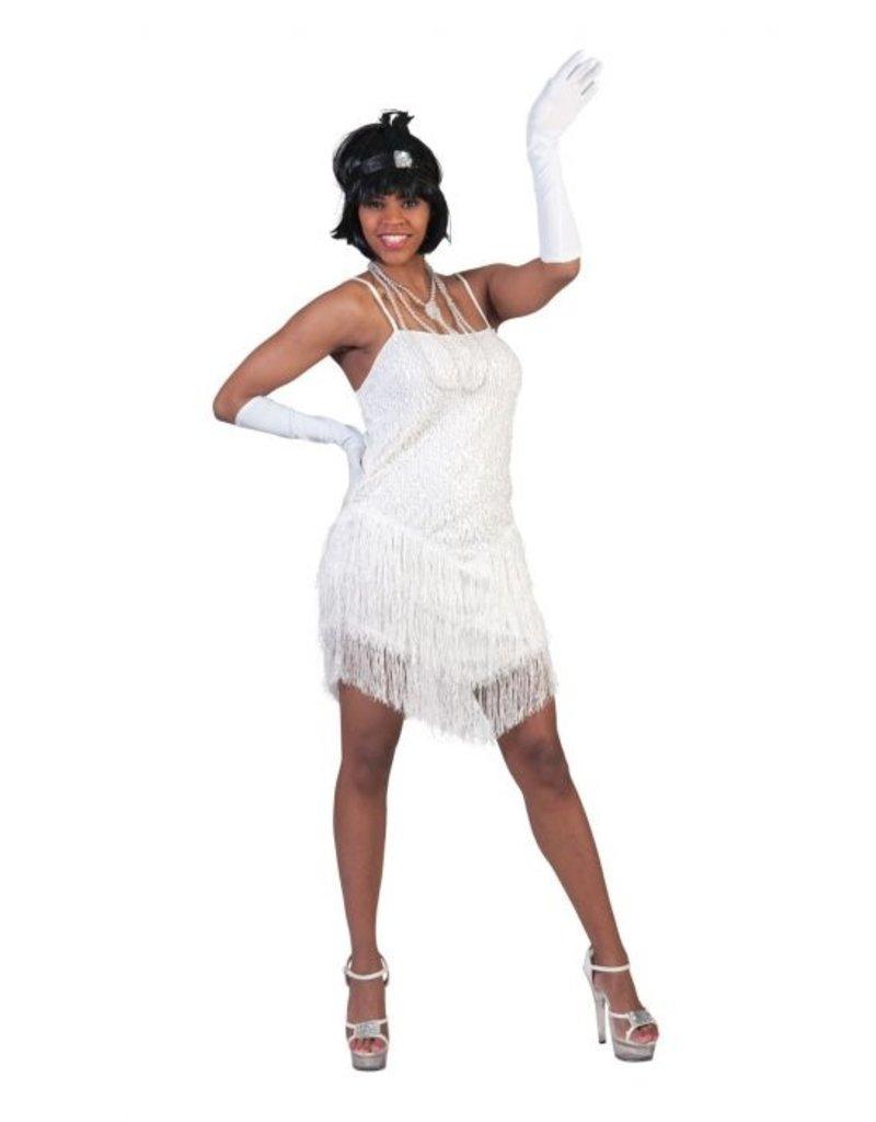Funny Fashion Charleston jurk wit glamour dames