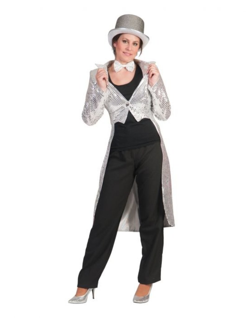 Funny Fashion Pailletten slipjas Sonja zilver dames