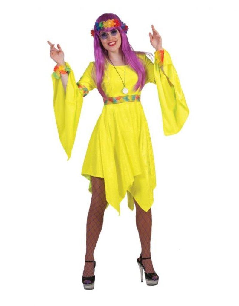 Funny Fashion Hippie jurk Flora dames geel