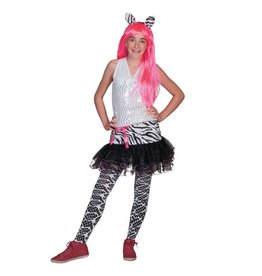 Funny Fashion Tiener zebra rok kostuum meiden