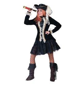 Funny Fashion Steampunk kostuum jas Zoe zwart wit dames