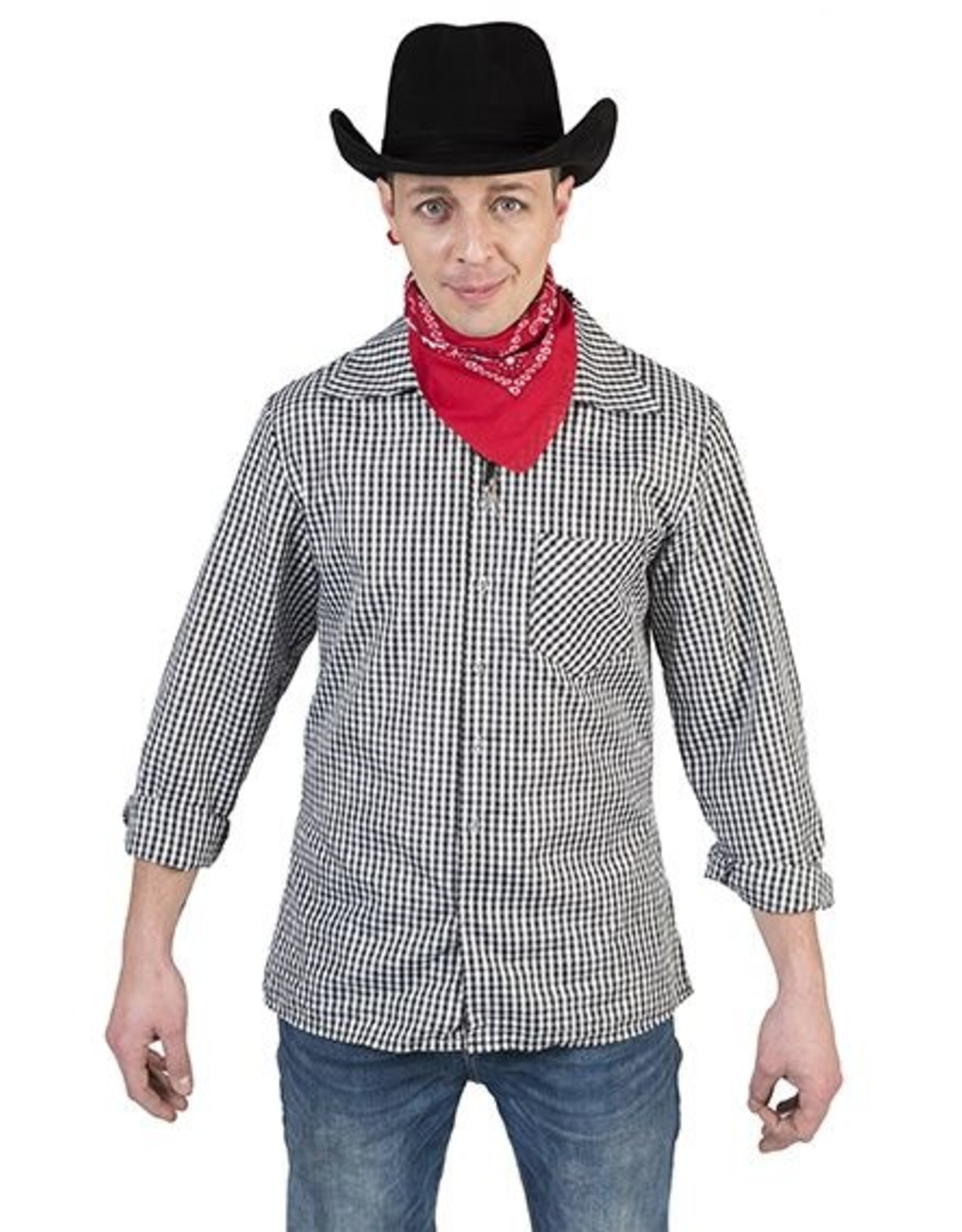 Funny Fashion Cowboyhemd zwart/wit