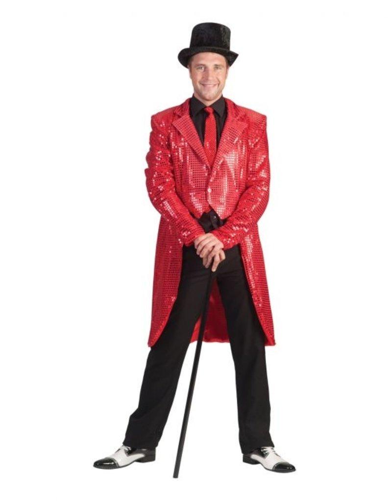 Funny Fashion Charleston pailletten jas rood heren
