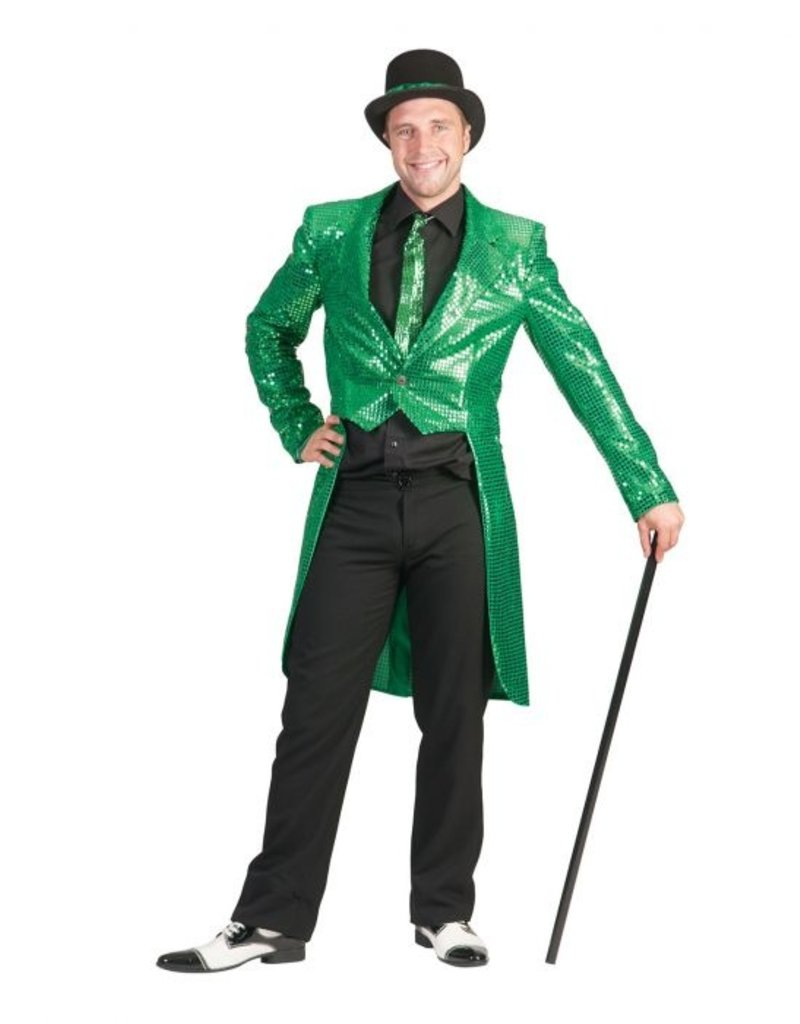 Funny Fashion Charleston pailletten jas groen heren
