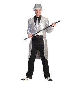 Funny Fashion Charleston pailletten slipjas zilver heren