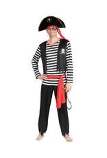 Funny Fashion Piraten kostuum Stefan heren zwart rood