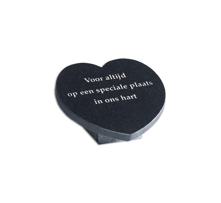 Grafmarkering hart met de tekst 'Voor altijd op een speciale plaats in ons hart'