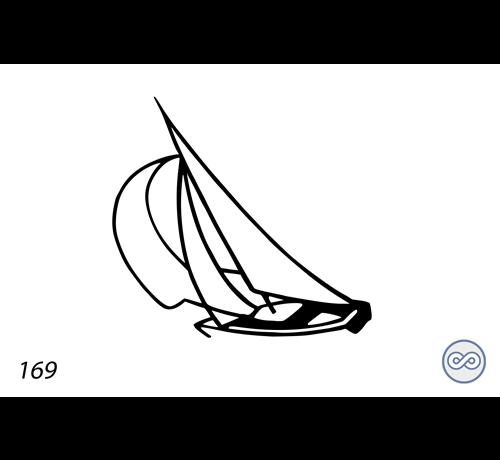 Grafsteenwinkel Afbeelding van een zeilboot op grafsteen