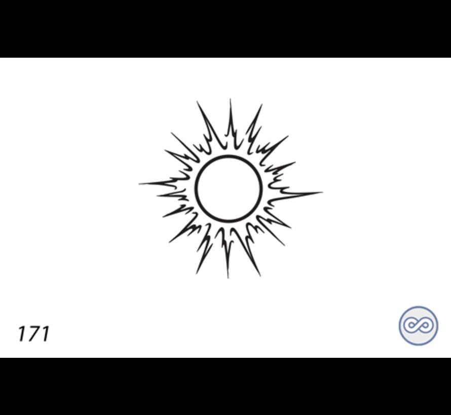 Afbeelding van een zon op grafsteen