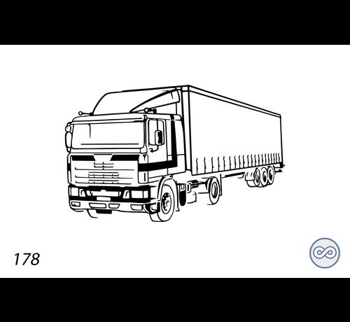 Grafsteenwinkel Afbeelding van een vrachtwagen op grafsteen