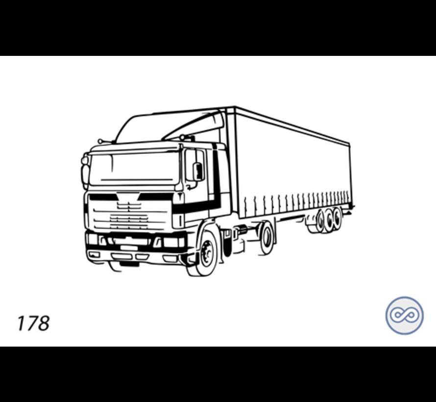 Afbeelding van een vrachtwagen op grafsteen