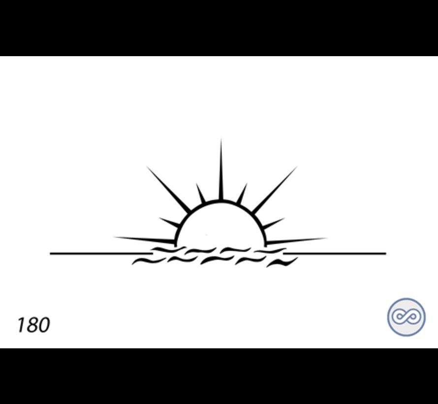 Afbeelding van een ondergaande zon op grafsteen