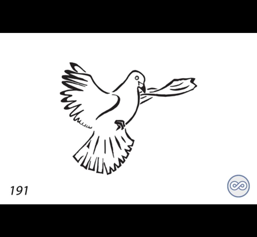 Afbeelding van een vliegende duif