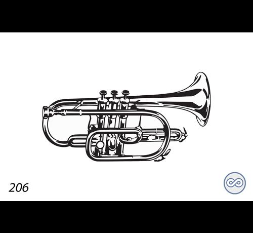 Grafsteenwinkel Afbeelding van een trompet
