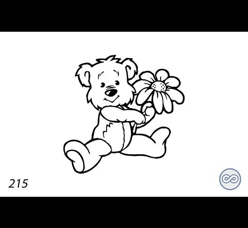 Grafsteenwinkel Afbeelding van een beer met een bloem