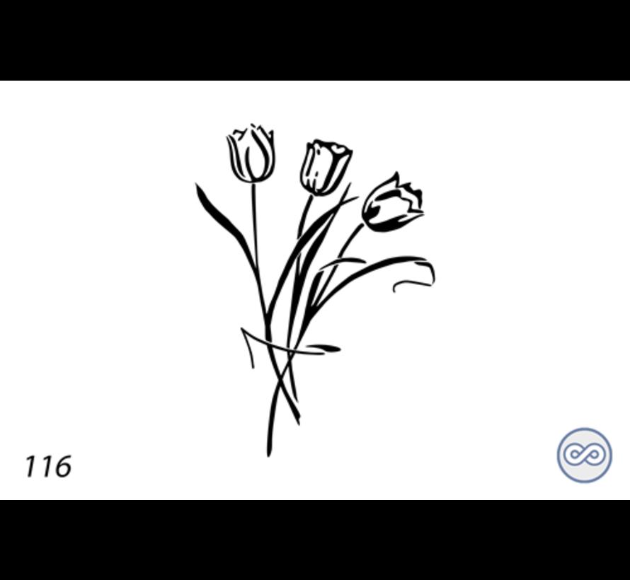 Afbeelding tulpen voor op grafsteen