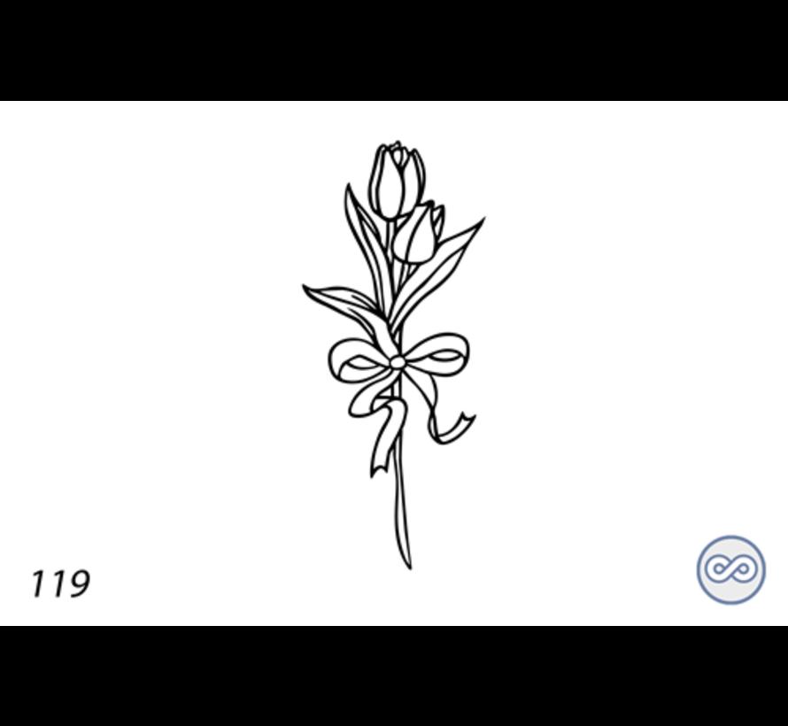 Afbeelding tulpen met strik voor op grafsteen