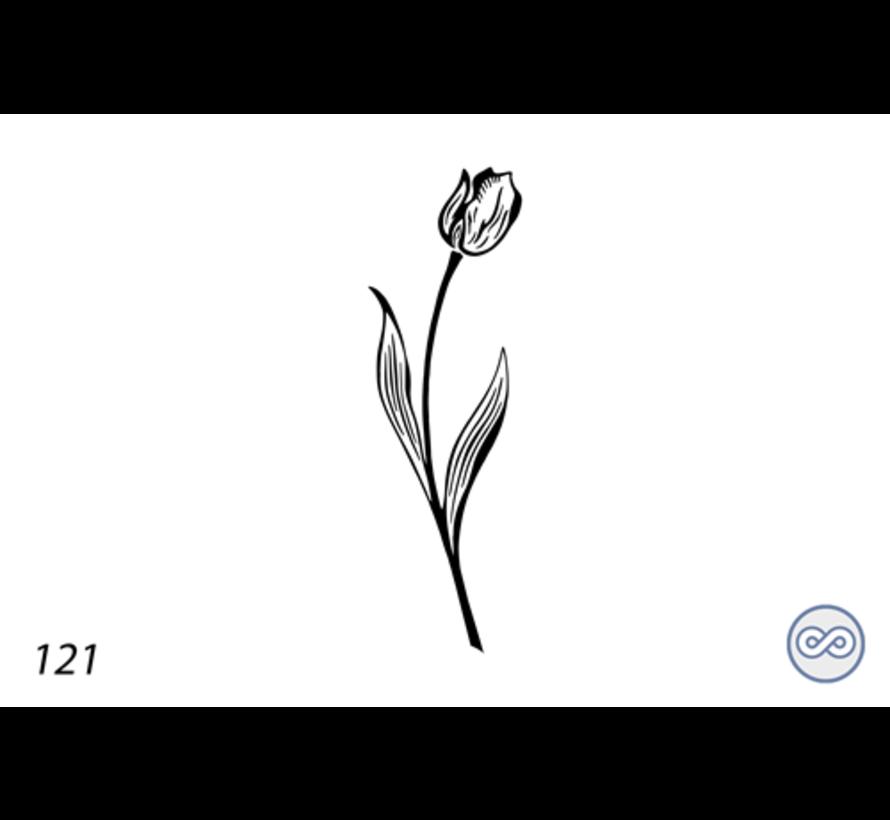 Afbeelding enkele tulp voor op grafsteen