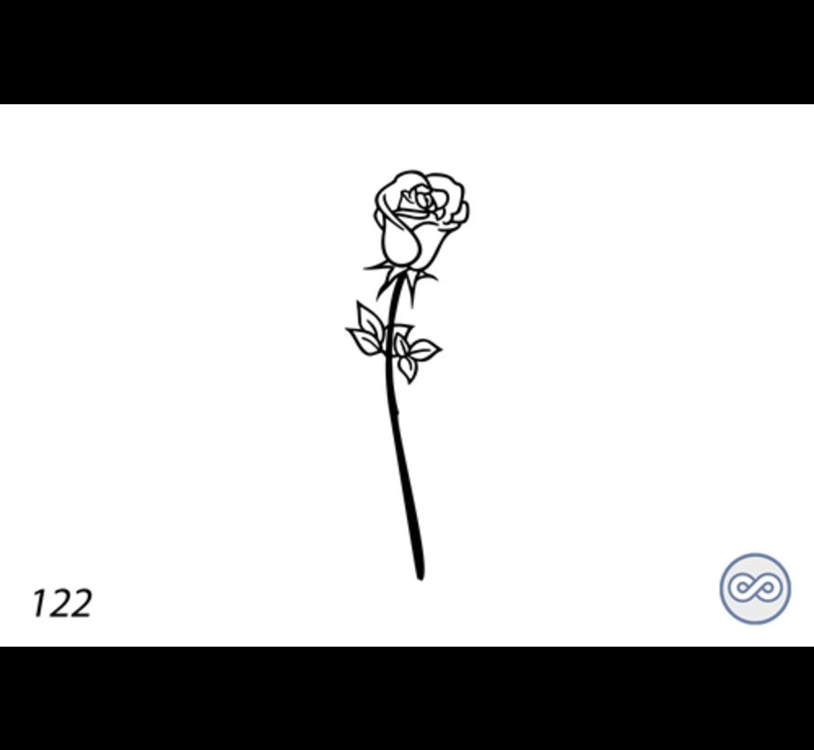 Afbeelding roos voor op grafsteen