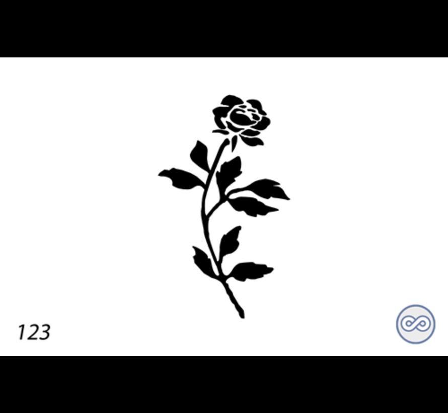 Afbeelding roos met bladeren voor op grafsteen