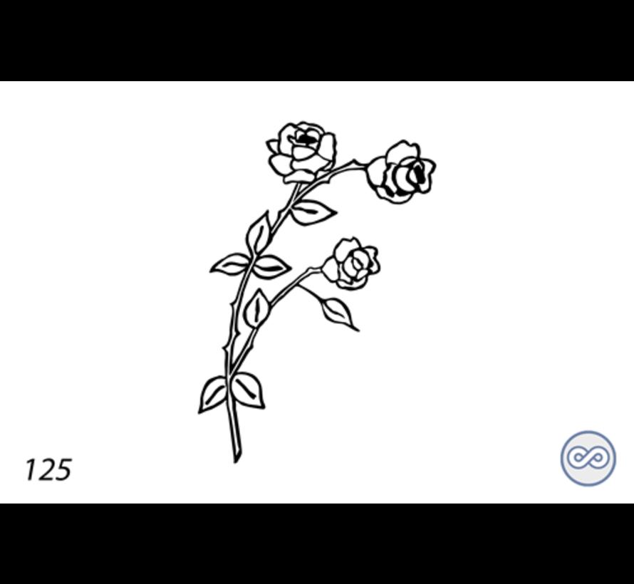 Afbeelding twee rozen voor op grafsteen