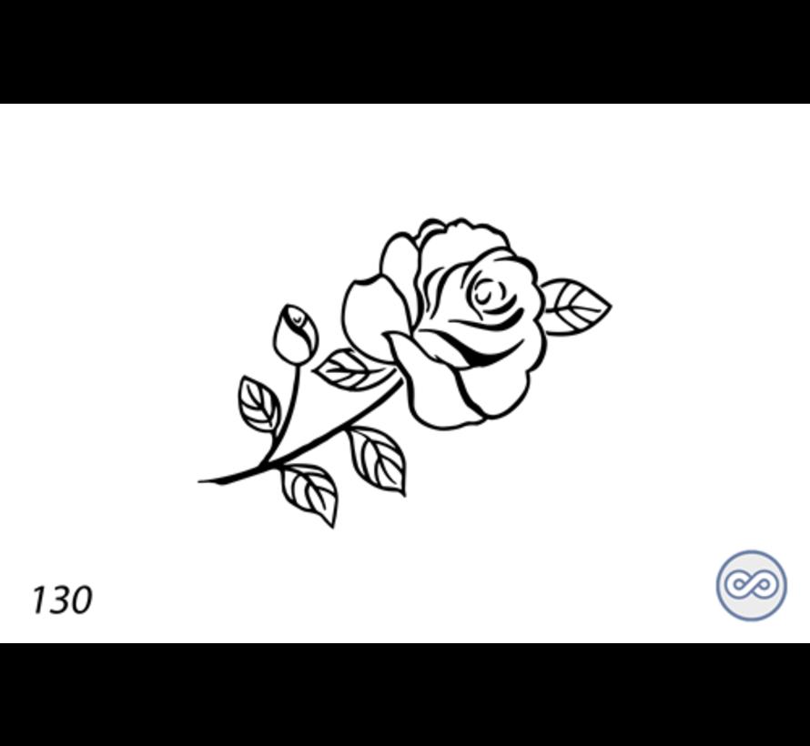 Afbeelding roos lijnen voor op grafsteen