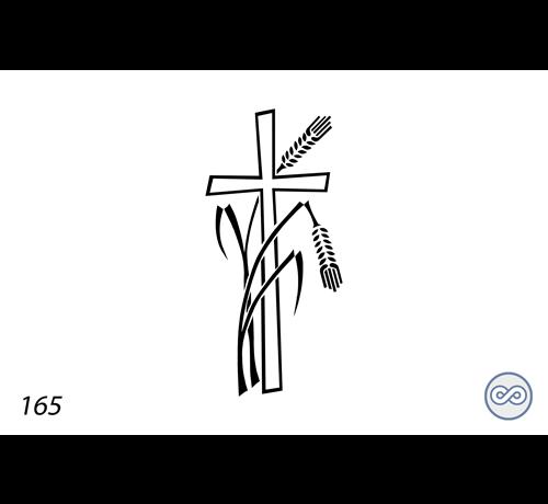 Grafsteenwinkel Afbeelding kruis met gebroken aren