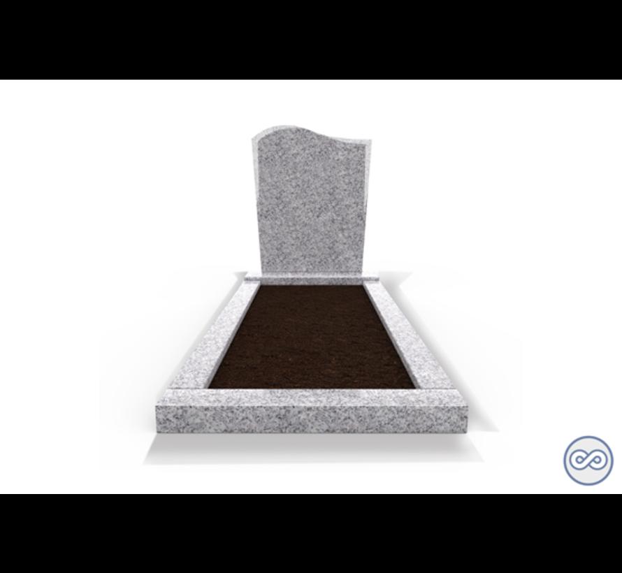 Staande grafsteen model 'Golf' met omranding en grond in de kleur Glittery White