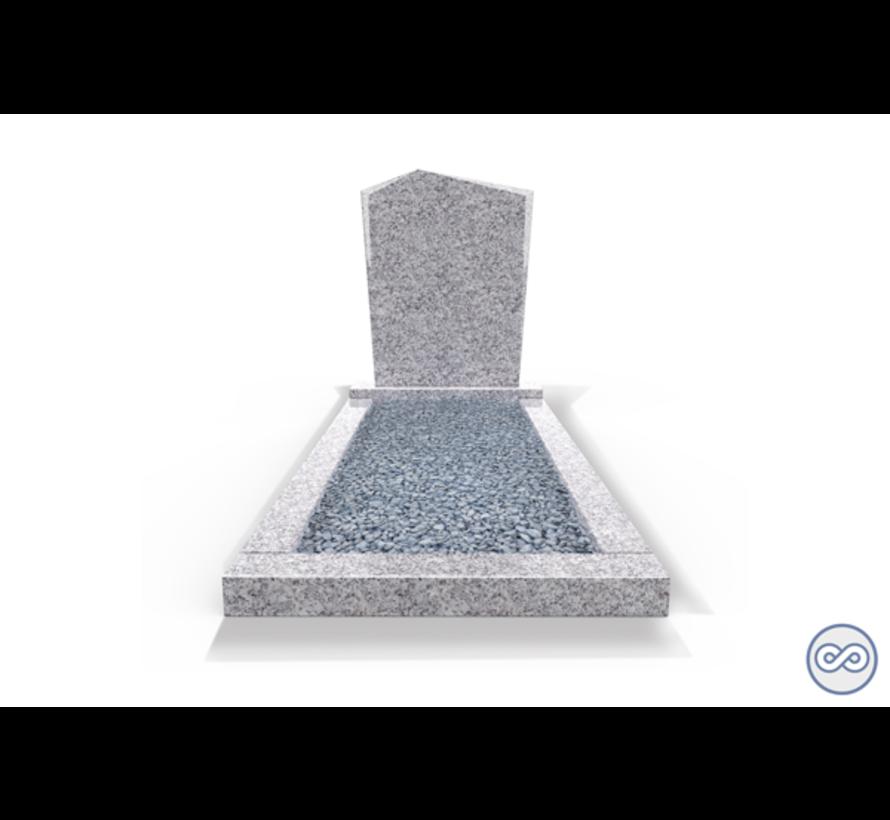 Staande grafsteen model 'Modern' met omranding en licht grind in de kleur Glittery White