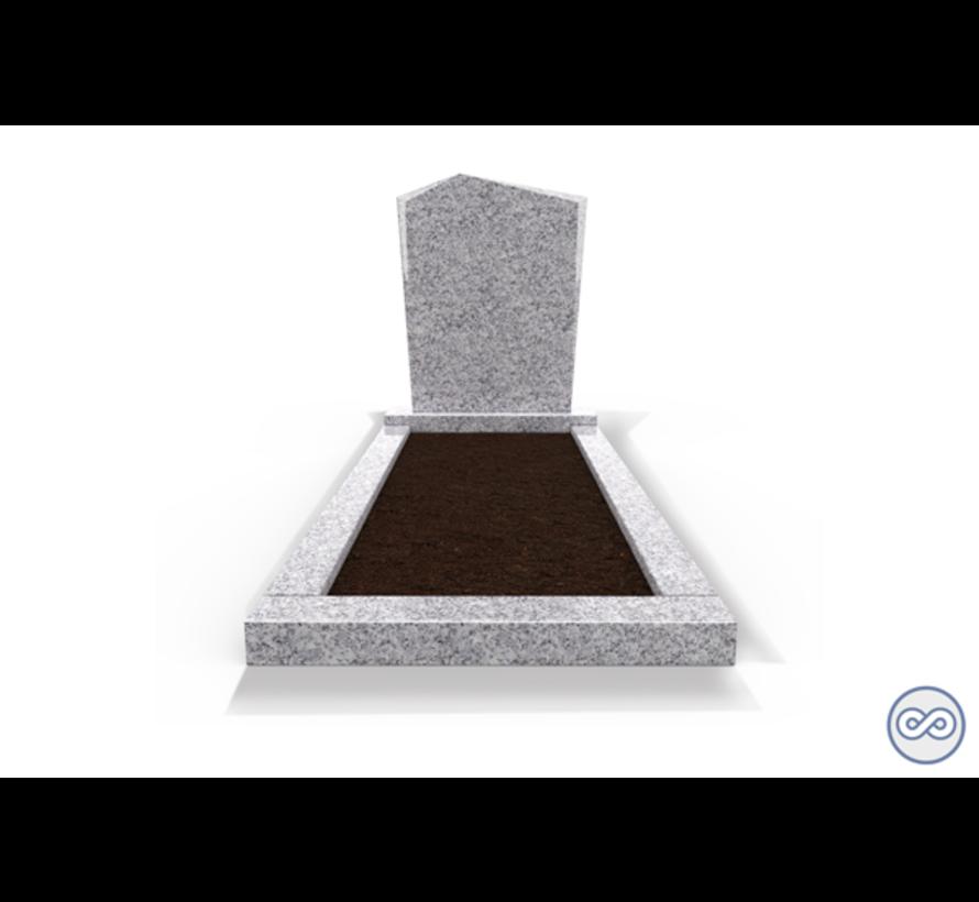 Staande grafsteen model 'Modern' met omranding en grond in de kleur Glittery White