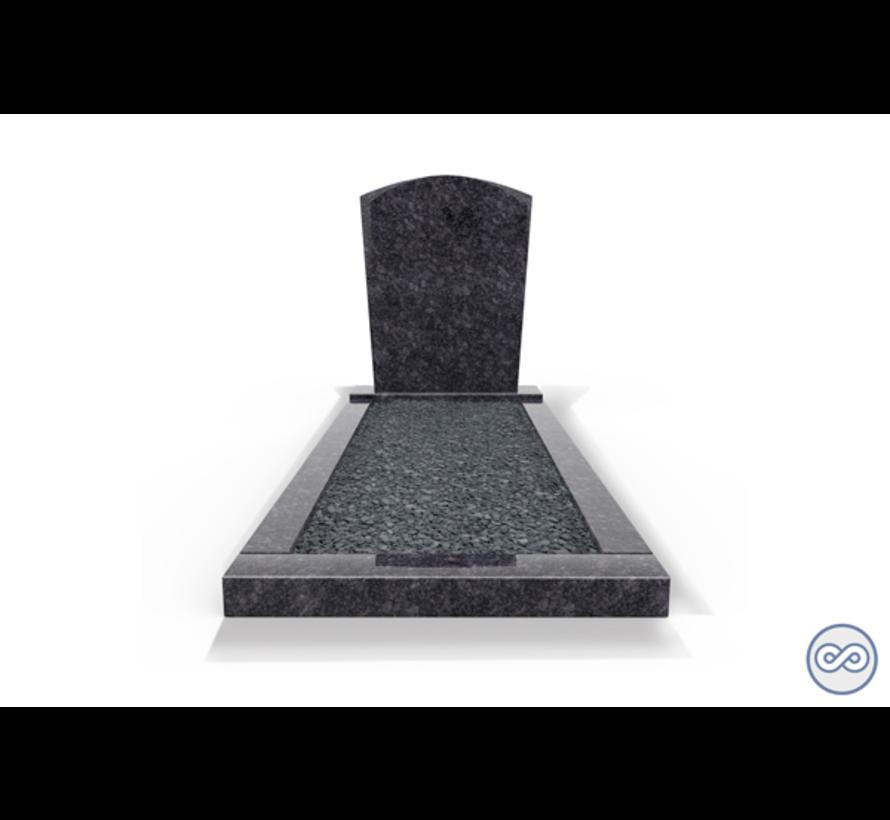 Staande grafsteen model 'Toog' met omranding en donker grind in de kleur Steel Grey