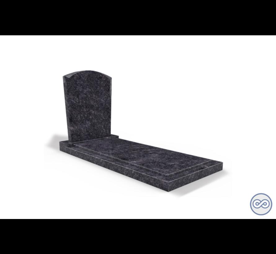 Staande grafsteen model 'Toog' met afdekplaat in de kleur Steel Grey