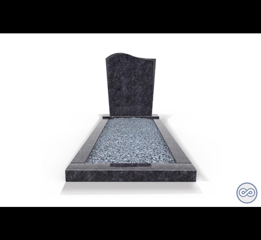 Staande grafsteen model 'Golf' met omranding en licht grind in de kleur Steel Grey