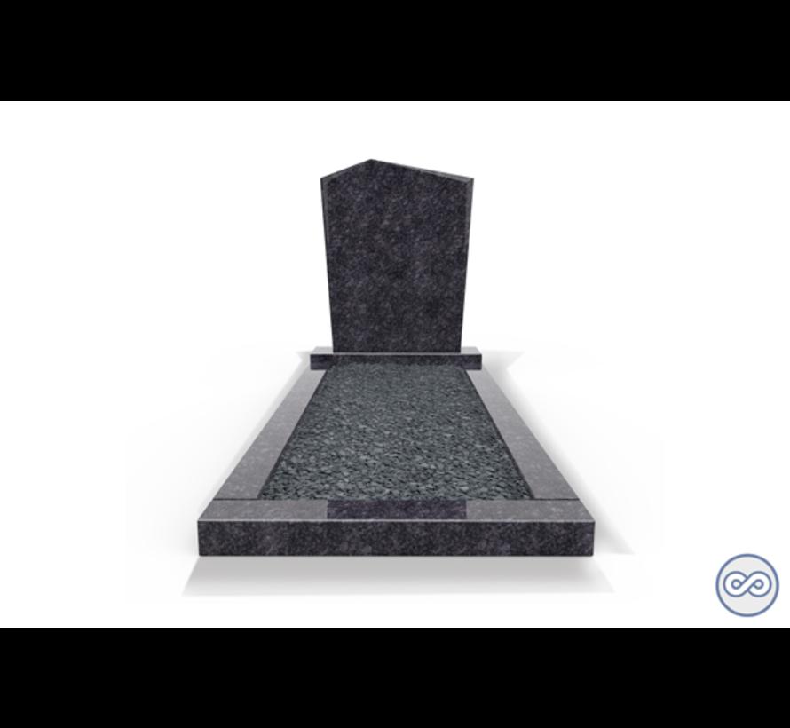 Staande grafsteen model 'Modern' met omranding en donker grind in de kleur Steel Grey